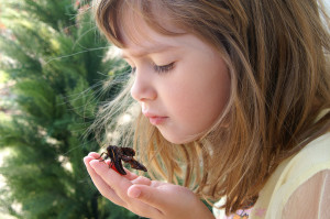 Young girl mindfully looking at a moth