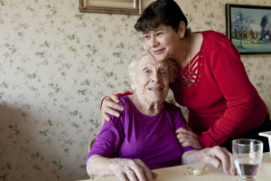 caregivers looking after a senior