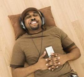 man listening to meditation