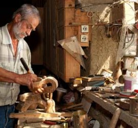 Man doing wood carving for relaxation